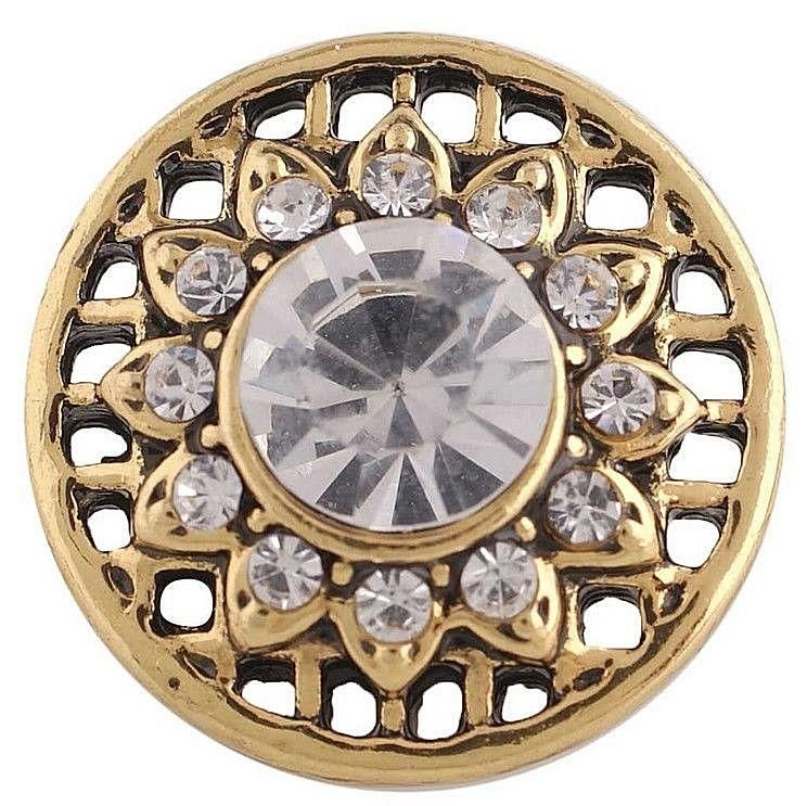 Gold Clear Rhinestone 20mm Snap Interchangeable Jewelry Fits Ginger Snaps