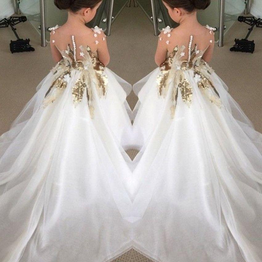Lindo marfil vestidos niña de lentejuelas apliques niñas desfile del ...