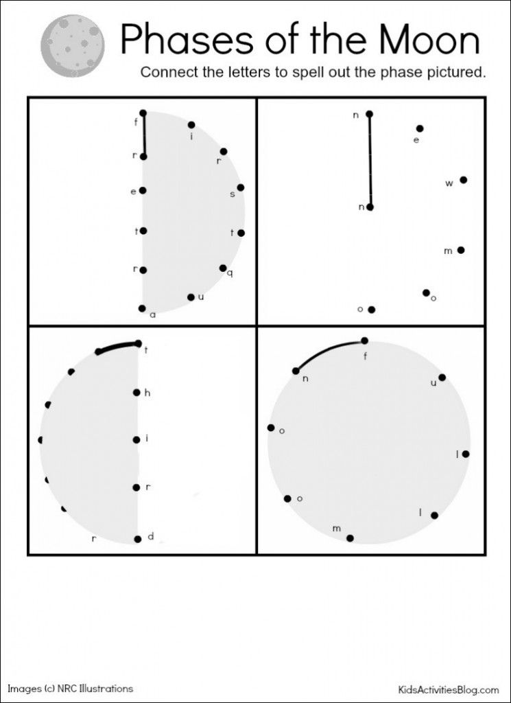 Phases of the Moon Moon Activities and a free printable – Phases of the Moon Worksheets