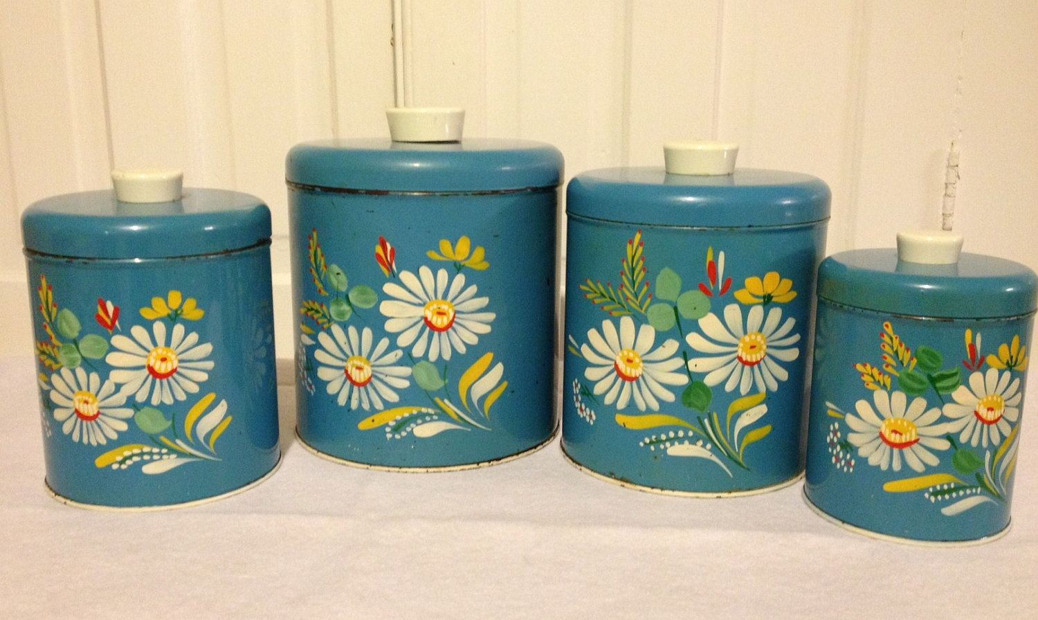 Vintage Metal Ransburg Canisters, Blue Kitchen Bouquet, Era 1 Hand ...