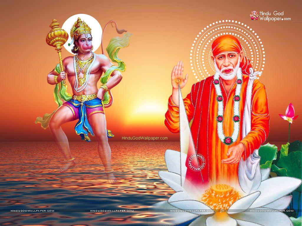 Hd wallpaper of sai baba - Sai Baba And Hanuman Wallpapers