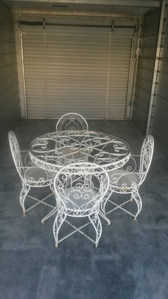 Wrought Iron Patio Set Ornate Vintage Table By Makingmidcenturymod