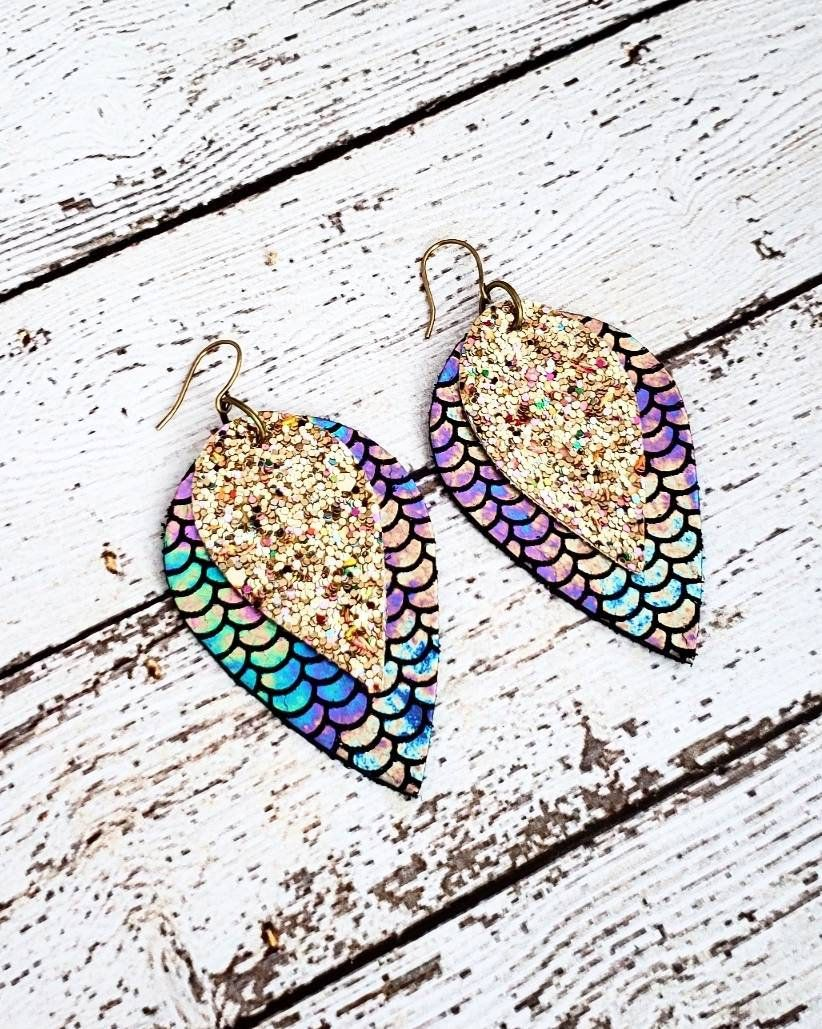 Mermaid Leather Earrings, Iridescent Gold Glitter Earrings, Statement Earrings, Layered Earrings, Mermaid Earrings, Scale Earrings, Gift