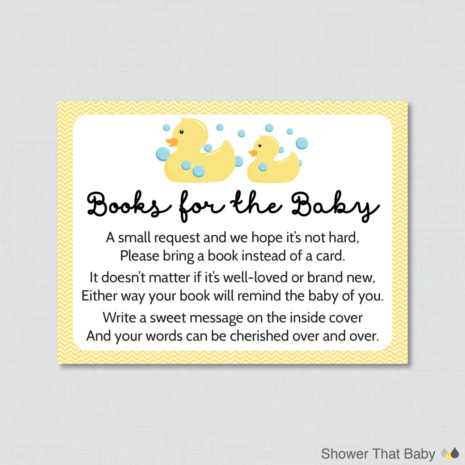 Rubber Ducky Baby Shower Printable Bring a Book Instead of a Card ...