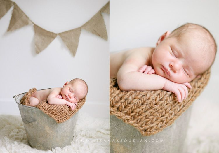 Sleeping Baby In Galvanized Bucket With Banner In The Background Cute Baby Pictures Photographing Kids Newborn Shoot