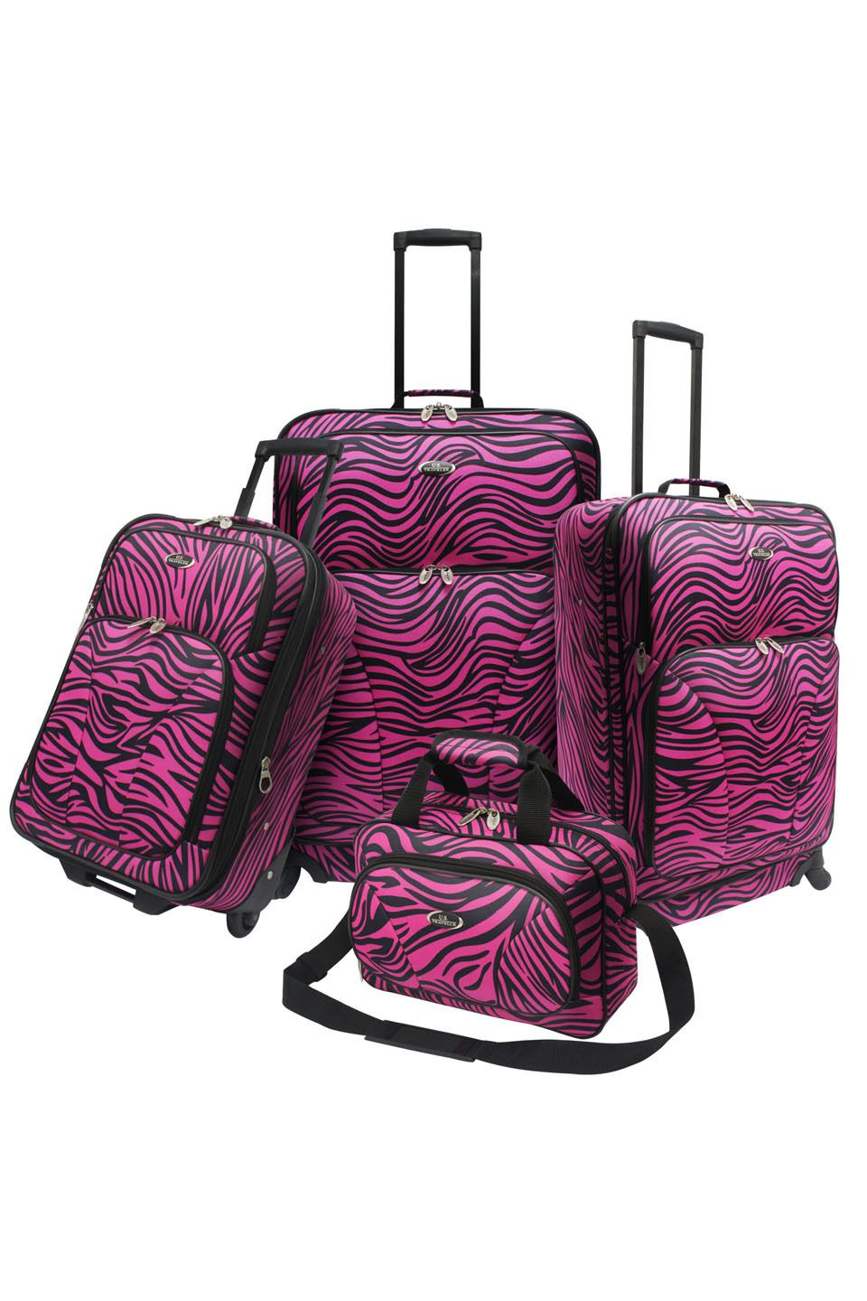 Traveler's Choice Four-Piece Fashion Spinner Luggage Set In Pink Zebra.