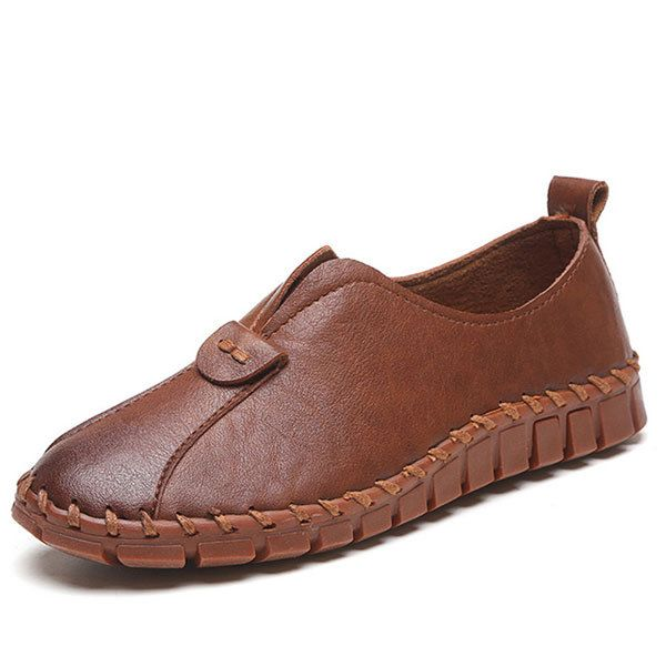 Pure Color Slip On Soft Flat Casual Shoes For Women