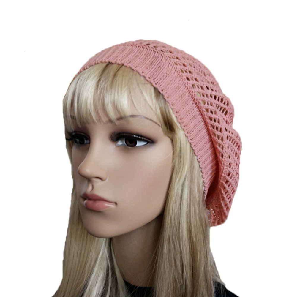 Knitted Cotton Beret for Summer - Breathable Women's Lace Beret