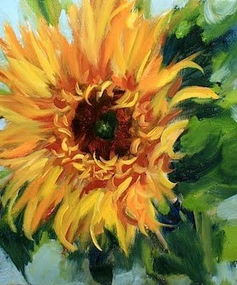 Fahrenheit 451 Sunflower by Texas Artist Nancy Medina, painting by artist Nancy Medina