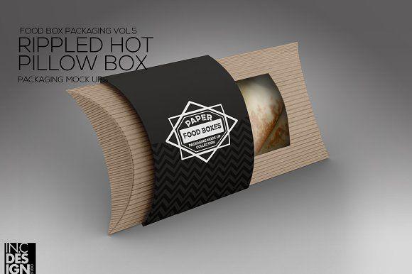 Rippled Pillow Box Packaging Mockup Pillow Box Free Packaging Mockup Packaging Mockup