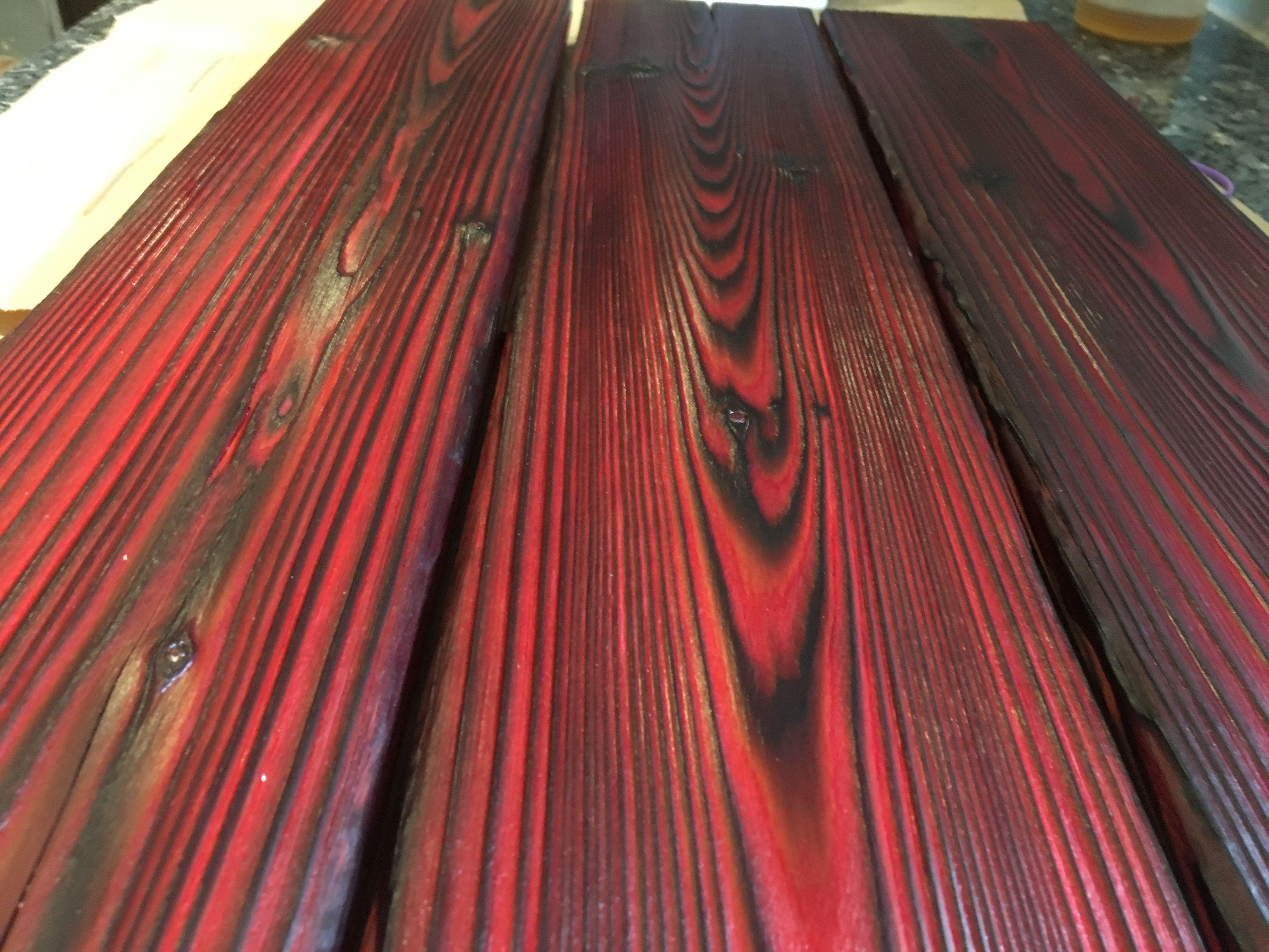Shou Sugi Ban Wall Panels Burnt Wood Wall Panels Bright Red 24 Long X 5 25 High Each Shousugiban Wallpanel Red Wood Stain Wood Panel Walls Staining Wood