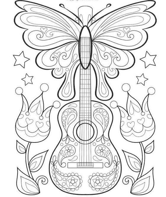 Pin von Flavia Mobilio auf Para colorir | Pinterest | Gitarre, Party ...