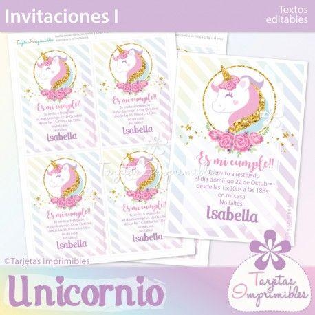 Decoraciones imprimibles para cumpleaños de unicornios. En colores pasteles y dorado simil glitter. #unicornio #unicornios #kitimprimible #ideasunicornios #ideasparafiestas #invitaciones #tarjetas