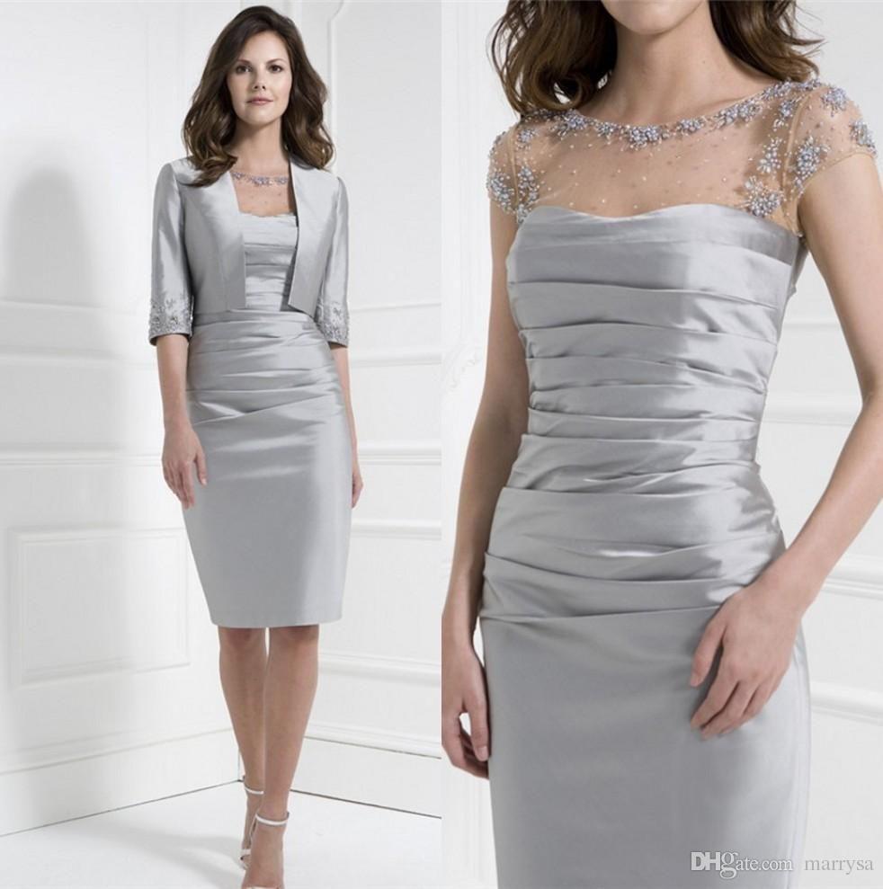 2016 sheath taffeta knee length mother off bride dresses for Dresses for mother of the bride winter wedding