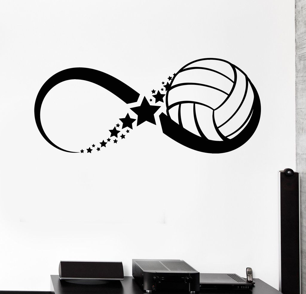 Vinyl Wall Decal Volleyball Ball Sport Game Infinity Stickers - Vinyl volleyball wall decals