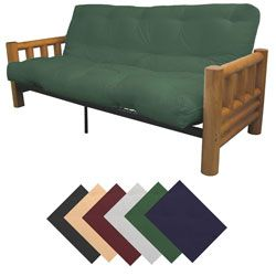 @Overstock - Enjoy the versatility of a stylish futon mattress set. During the day it provides sofa seating, and at night the queen-sized mattress sleeps two comfortably. The rustic frame is made of solid pine. Choose from nine mattress colors to match any decor.http://www.overstock.com/Home-Garden/Yosemite-Queen-Rustic-Lodge-Frame-Splendor-Mattress-Futon-Set/4348683/product.html?CID=214117 $479.99
