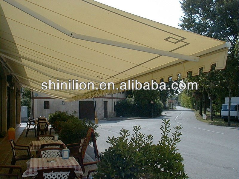 Retractable Arm Awning 1 Anti Wind Gas Spring Arm 2 Front Bar With Guilding Gutter 3 Built In Tarpaulin Brush Patio Awning Outdoor Decor