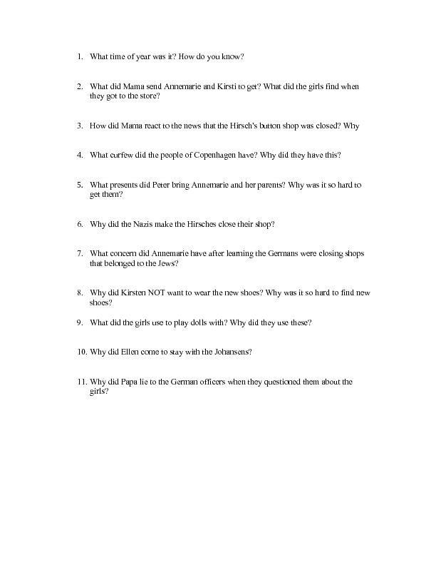"""Number the Stars"" Chapters 3 and 4 Worksheet 