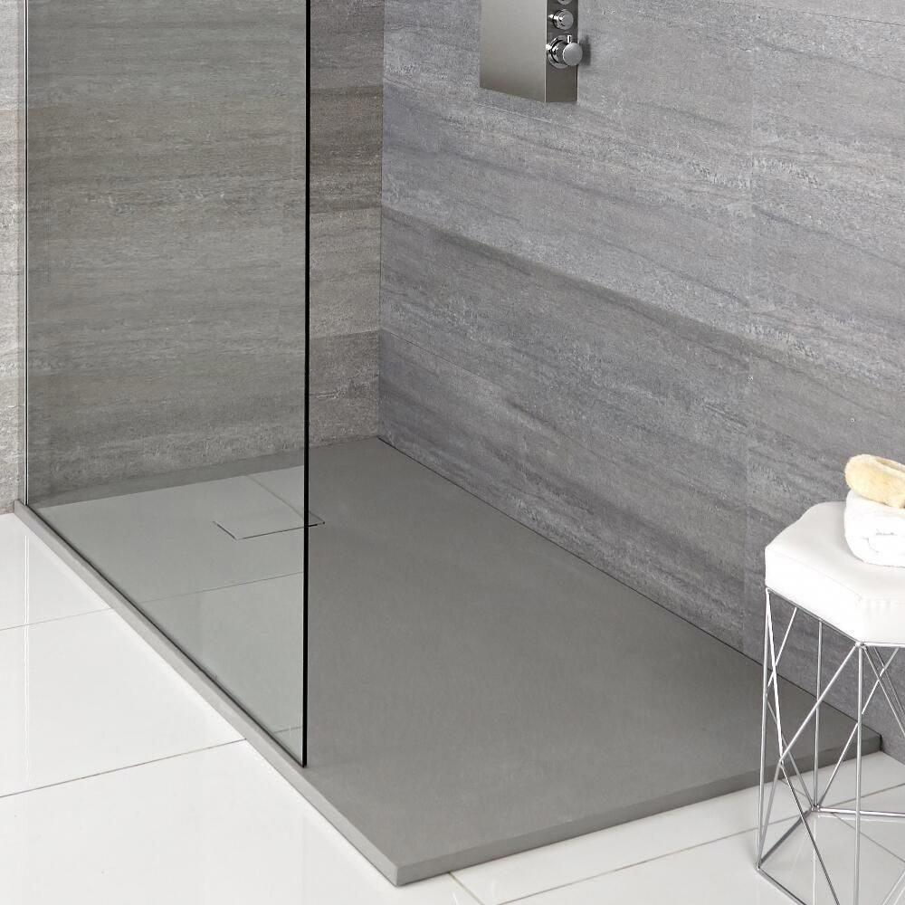 Milano Light Grey Slate Effect Rectangular Shower Tray 1200x900mm Greybathroom Shower Tray Slate Shower Shower Tray Ideas