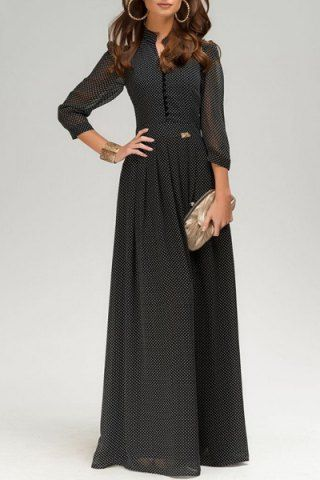 Graceful Stand Collar 3/4 Sleeve Polka Dot See-Through Womens Chiffon Dress - #3/4 #chiffon #Collar #Dot #dress #Graceful #Polka #See-Through #Sleeve #Stand #womens