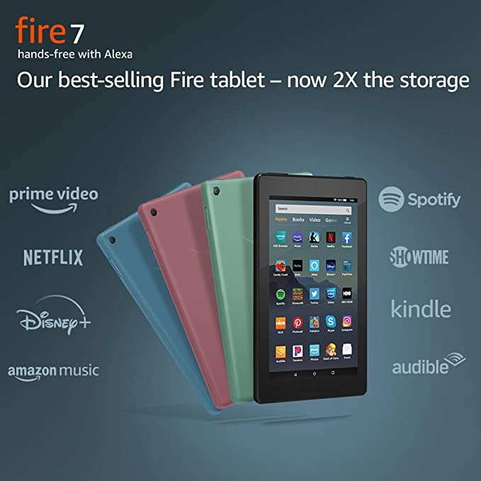 Fire 7 Tablet Our Best Selling Tablet Now 2x The Storage Faster Quad Core Processor And Hands Free With Alexa In 2020 Fire Tablet Tablet 7 Tablet