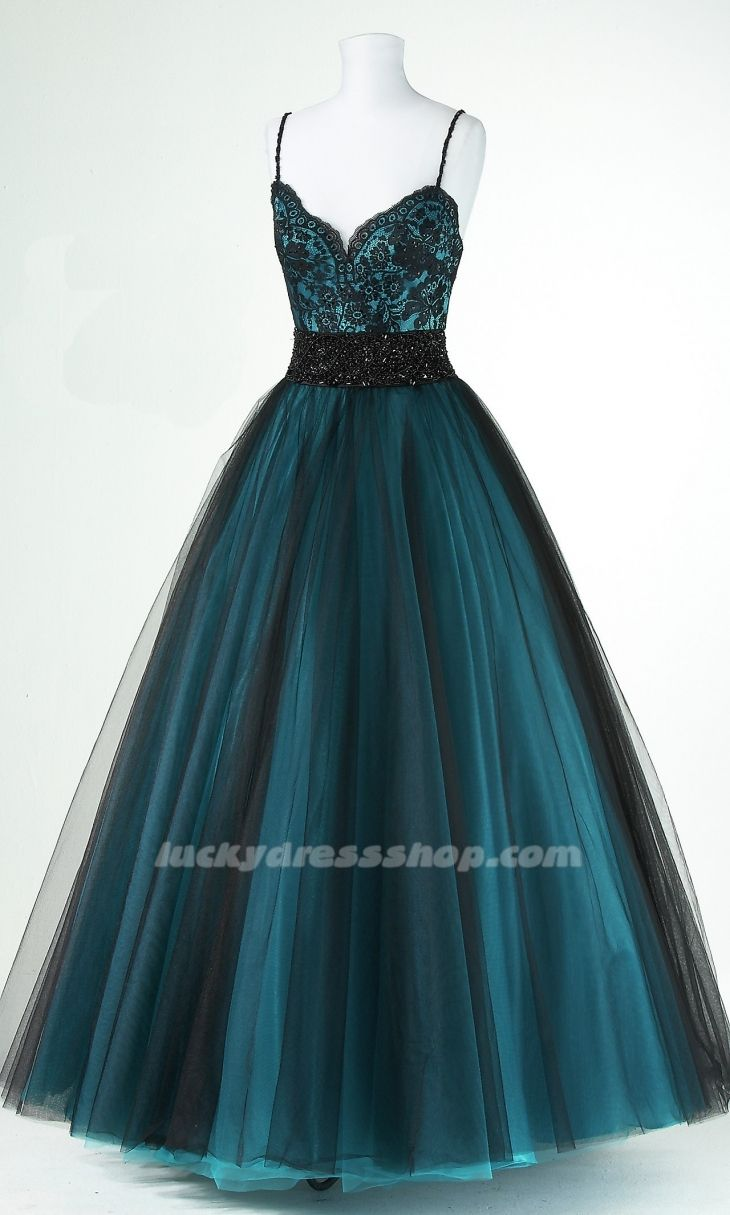 Ball gown spaghetti straps longfloorlength tulle prom dress with