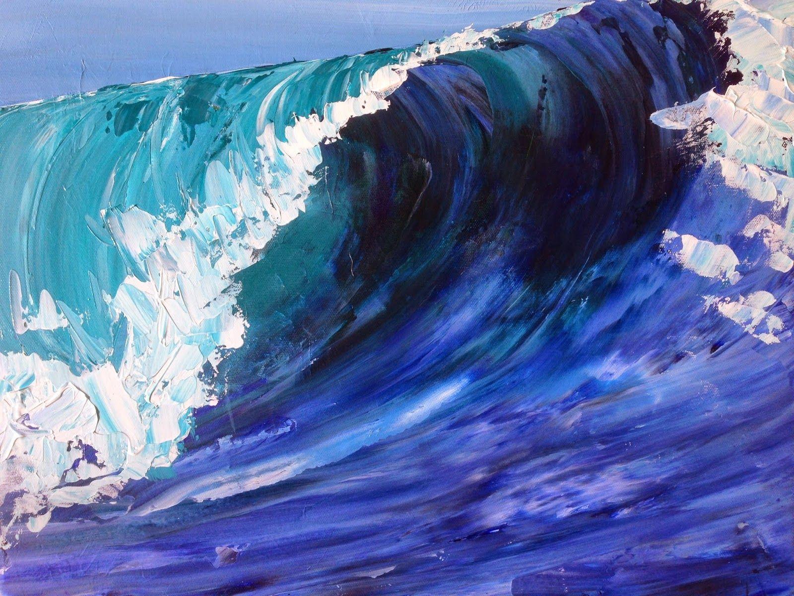 Art Ramble Wave Teahupo' Tahiti Paintings Waves Painting