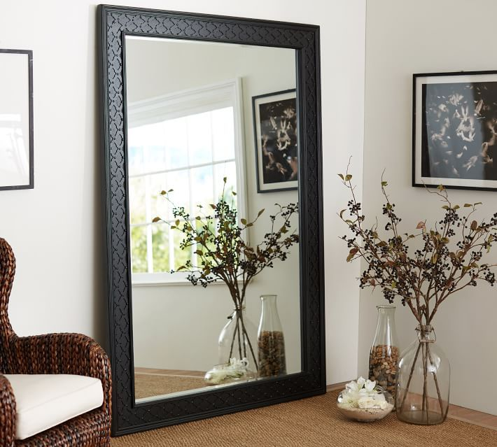 Large decorative standing floor mirrors decorative full for Black framed floor length mirror