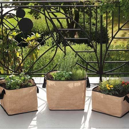lot de 3 sacs plantation en toile de jute balcon jardinage pinterest toile de jute. Black Bedroom Furniture Sets. Home Design Ideas