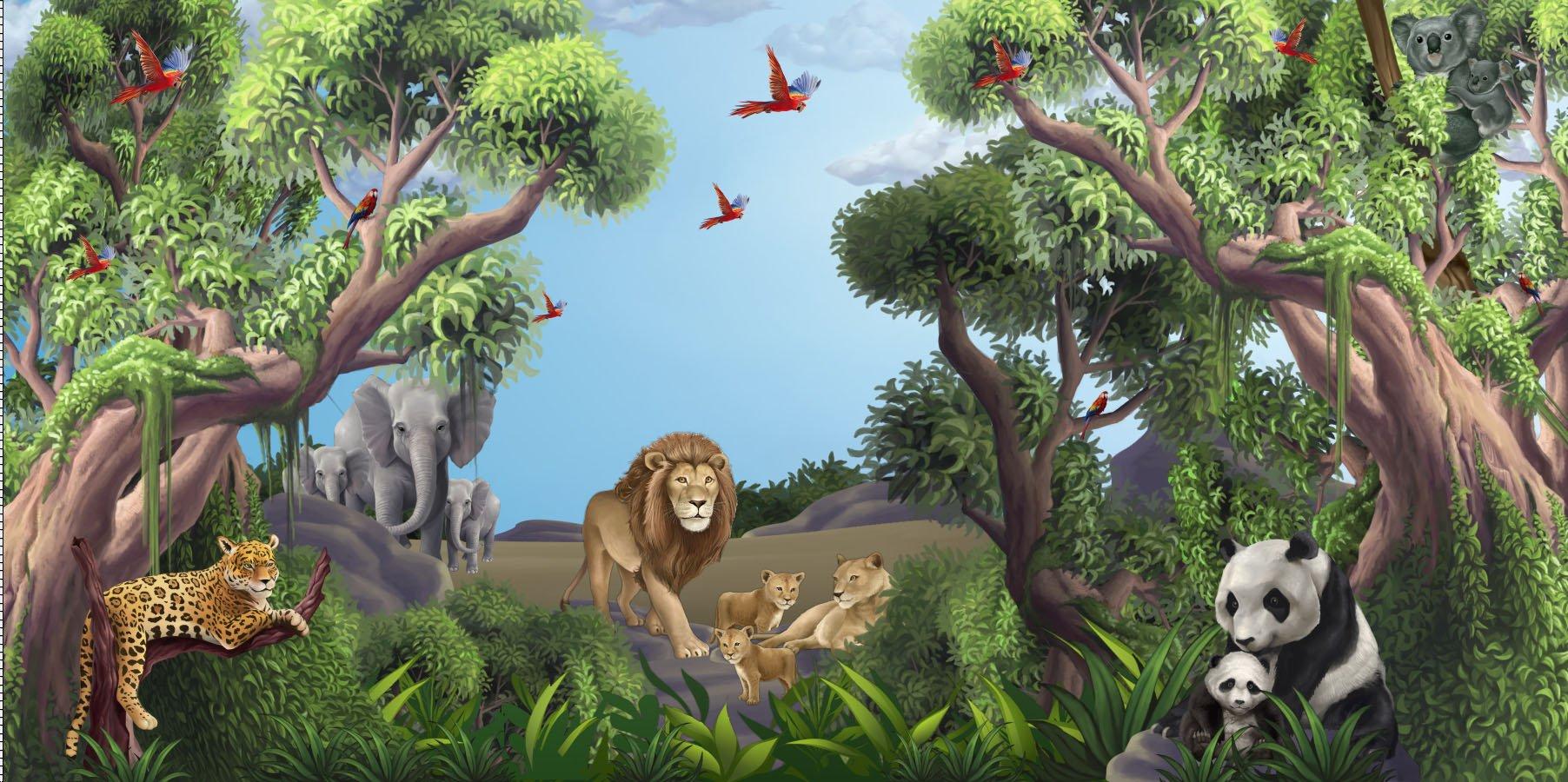 Best Jungle Animals Mural 2 Kids Wallpaper Church Ministry 400 x 300