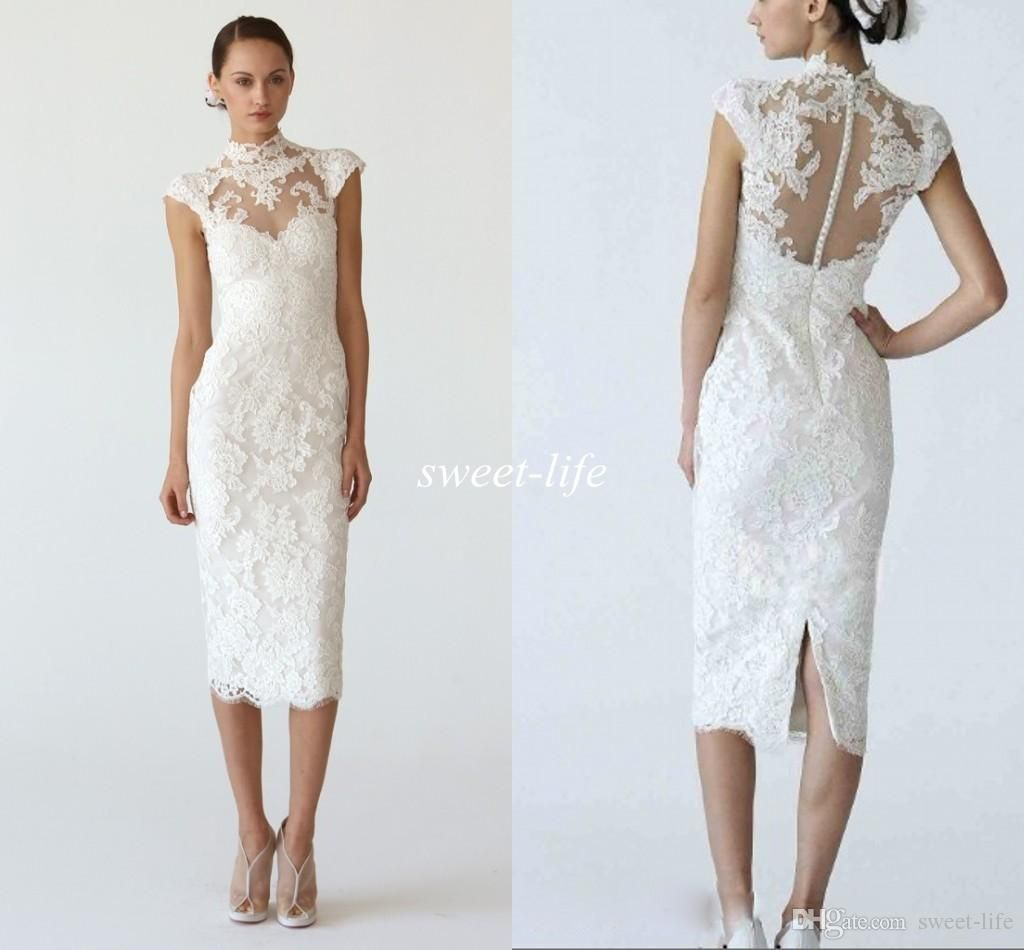 New arrival short wedding dresses sheath illusion high for Mid length wedding dress