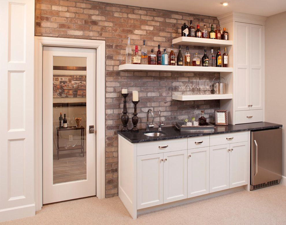 Captivating Wall Mounted Bar Shelves Home Bar Traditional With Bar Sink Beige Cabinets