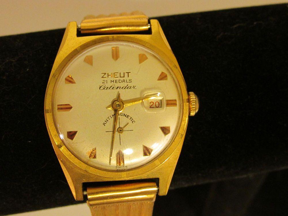 4a8ff7152 Vintage ZHEUT Calendar 21 Medals CT18750 Watch AS IS #ZHEUT #Dress ...