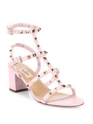 a492dcbe67b4 Valentino - Rockstud Leather Block Heel Sandals