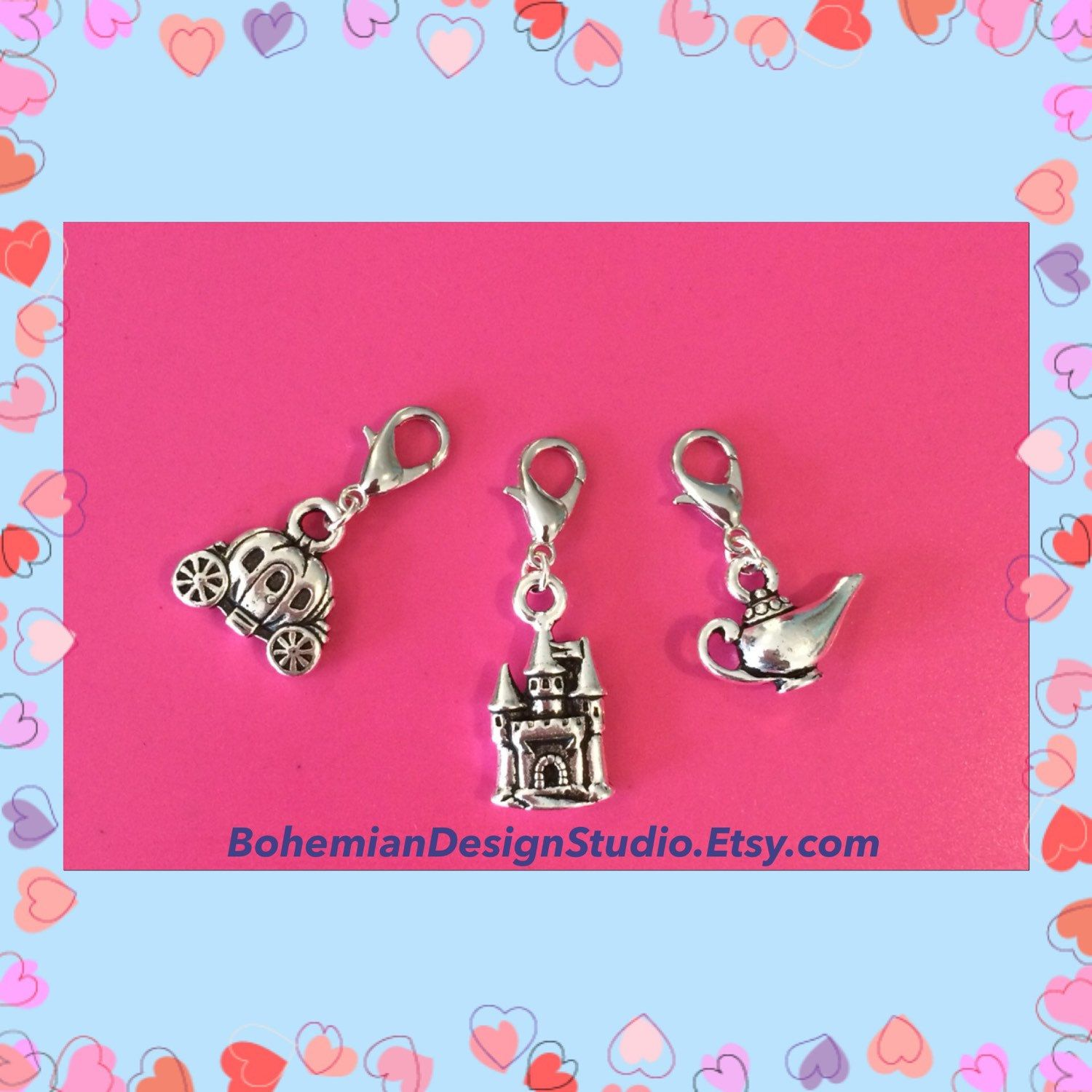 Silver pumpkin carriage clip on charm princess jewelry fairy