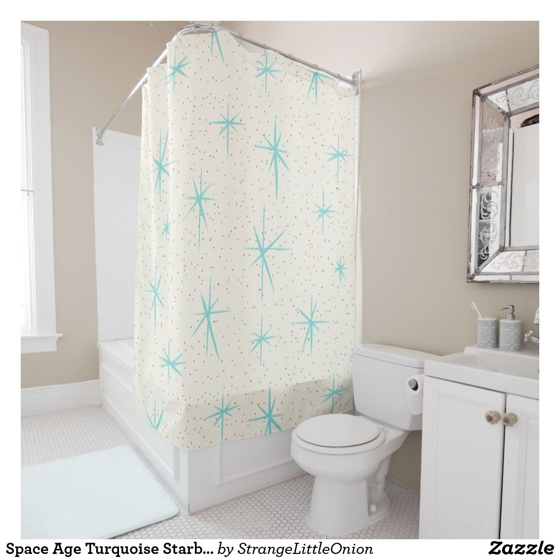 E Age Turquoise Starbursts Shower Curtain Created By Strangelittleonion