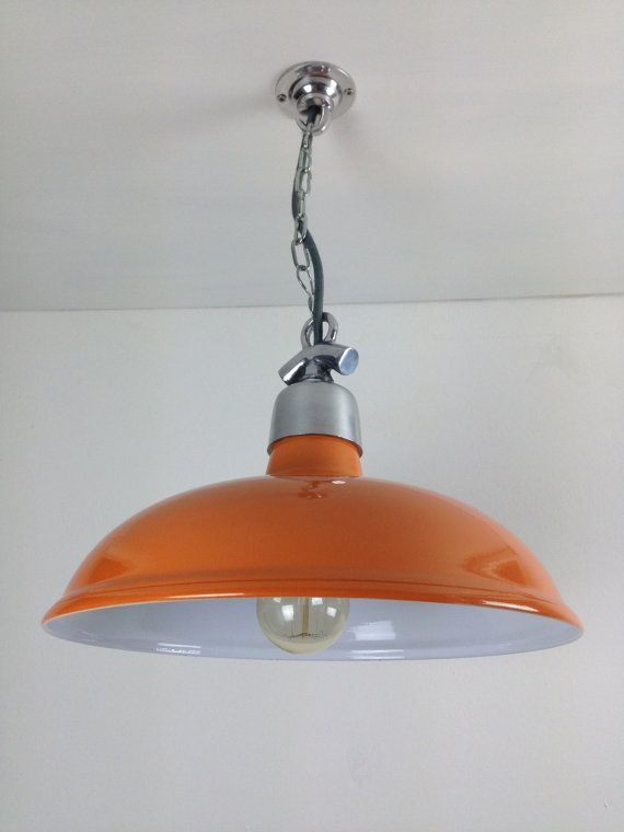Orange factory ceiling light by anyoldlights on etsy