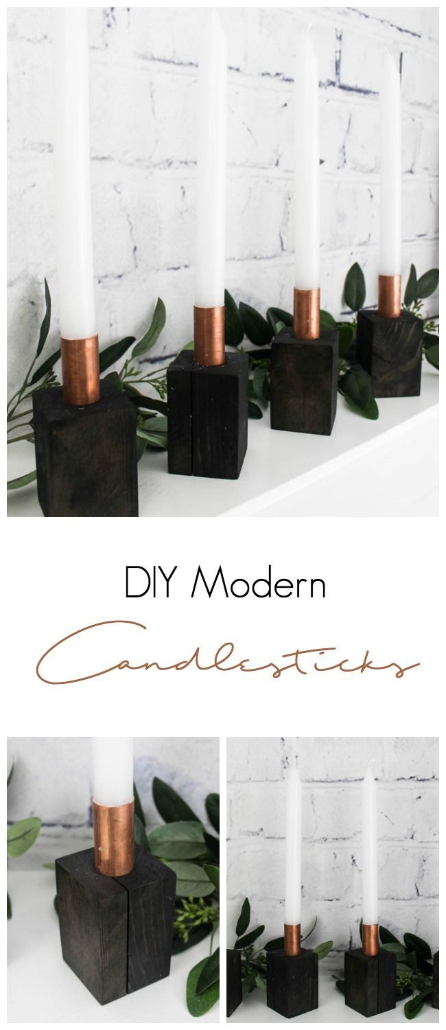 I love these beautiful modern Candlesticks. All you need for this easy DIY is some copper and some scrap wood! The perfect modern decor for your home! #modern #nordic #Scandinavian #hygge
