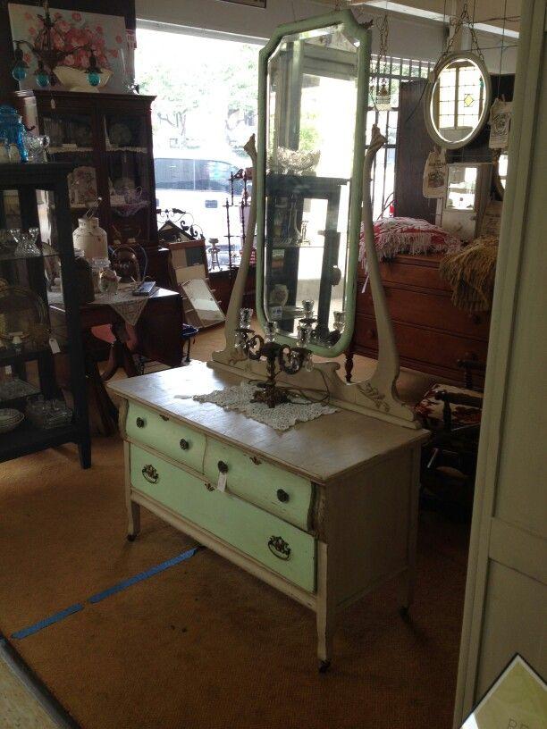 Shabby antique vanity green