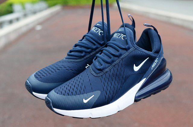 navy blue and white nike sneakers