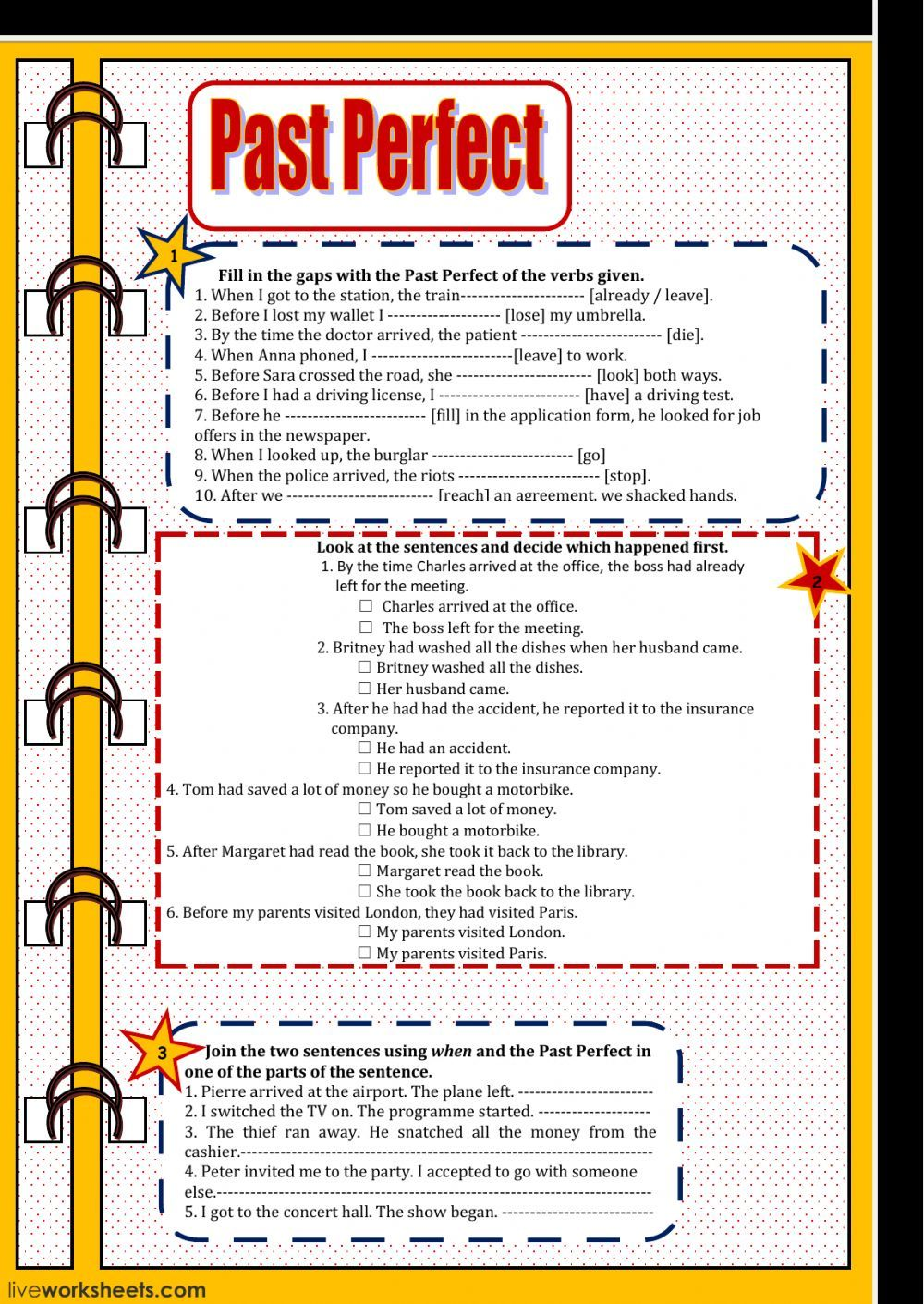 Past Perfect interactive and downloadable worksheet. You