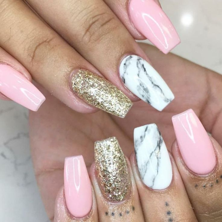 Tapered Square Nails. Pink Nails. Gold Glitter Nails. Marble