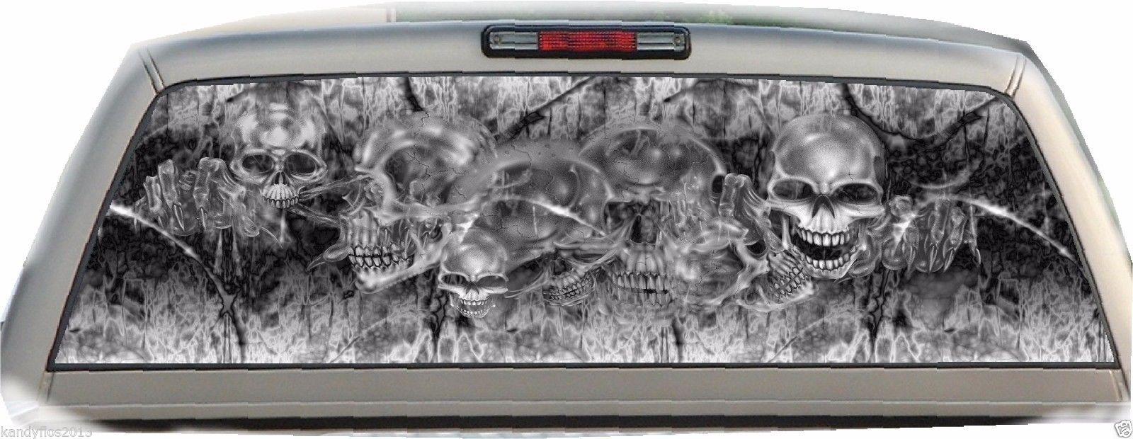 Skull Skulls Rear Window Graphic Tint Truck Stickers Decals - Rear window hunting decals for trucksvehicle graphics rear window graphics road hunter custom truck