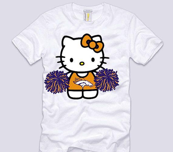HELLO KITTY Football T-shirt Denver BRONCOS Women/'s JUNIORS Tee New