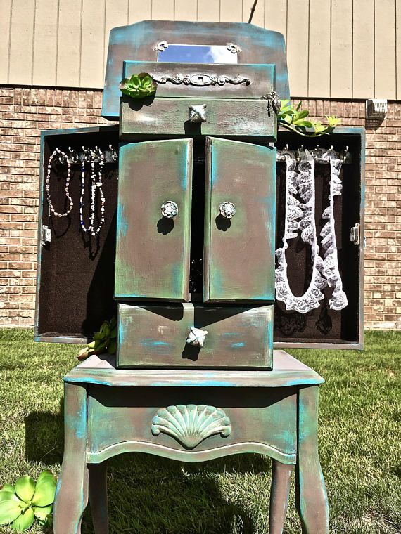 Standing Jewelry Armoire That I Up Cycled Re Finished Painted