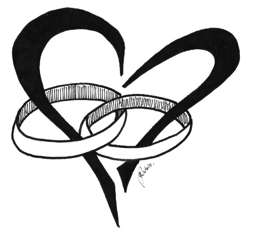 Wedding Printable/ Imagen imprimible corazón con Alianzas