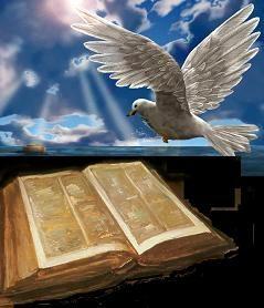 Una Paloma Blanca Volando Sobre Una Biblia Antigua Ingrid