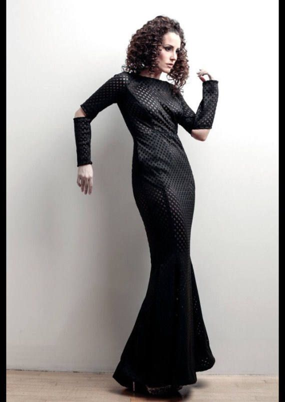 Black Laser cut Futuristic faux Leather Fishtail Mermaid Gown