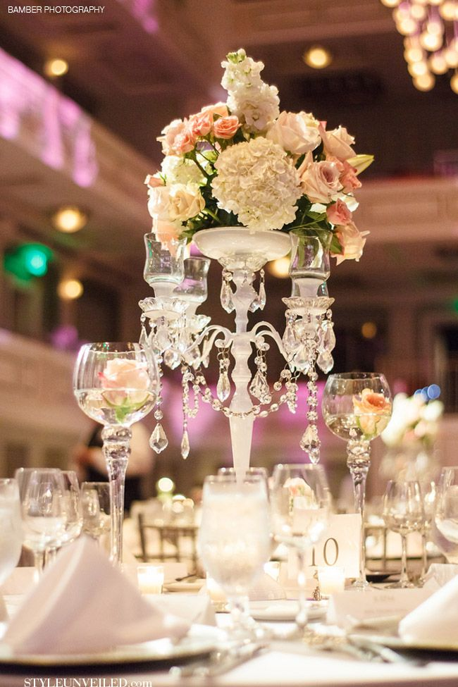 Elegant wedding table with white and pink flowers and for Glass tables for wedding reception