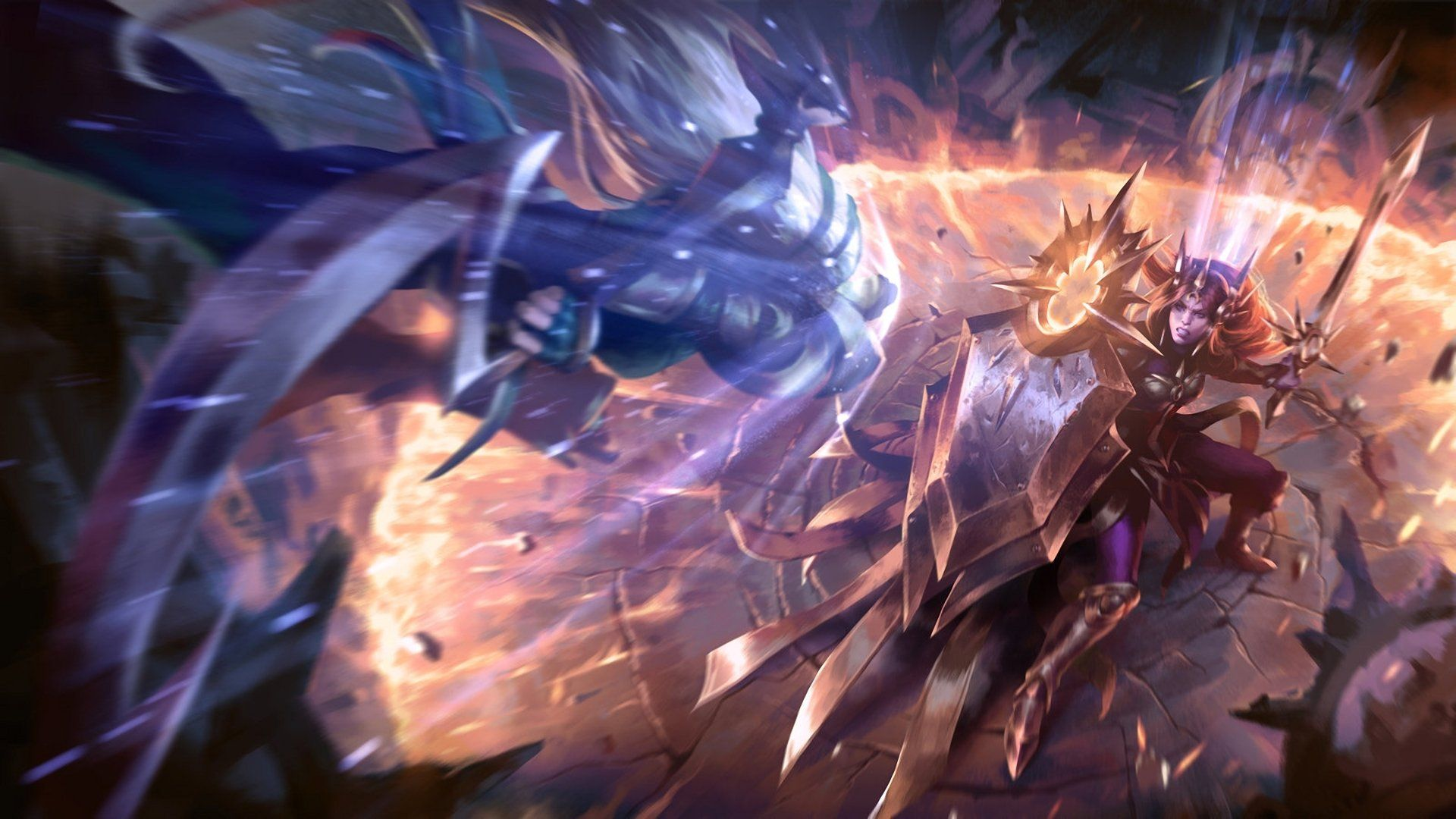 Video Game League Of Legends Battle Sword Shield Leona League Of Legends Diana League Of Legends Wallpaper